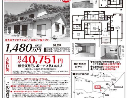 福山市沼隈町下山南 広々した売り住宅、チラシのご案内です。随時ご案内致します。平日、土日祝日もご案内可能です。