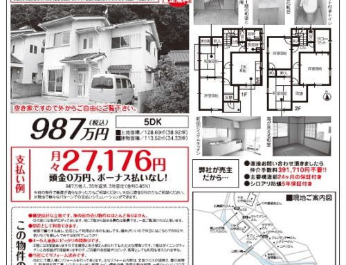 福山市沼隈町常石海の見える売り住宅、チラシのご案内です。随時ご案内(平日、土日祝日もご案内可能です。)